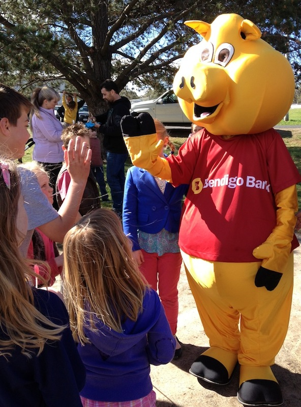 Piggy from Sorell Community Bank at presentation day 2013